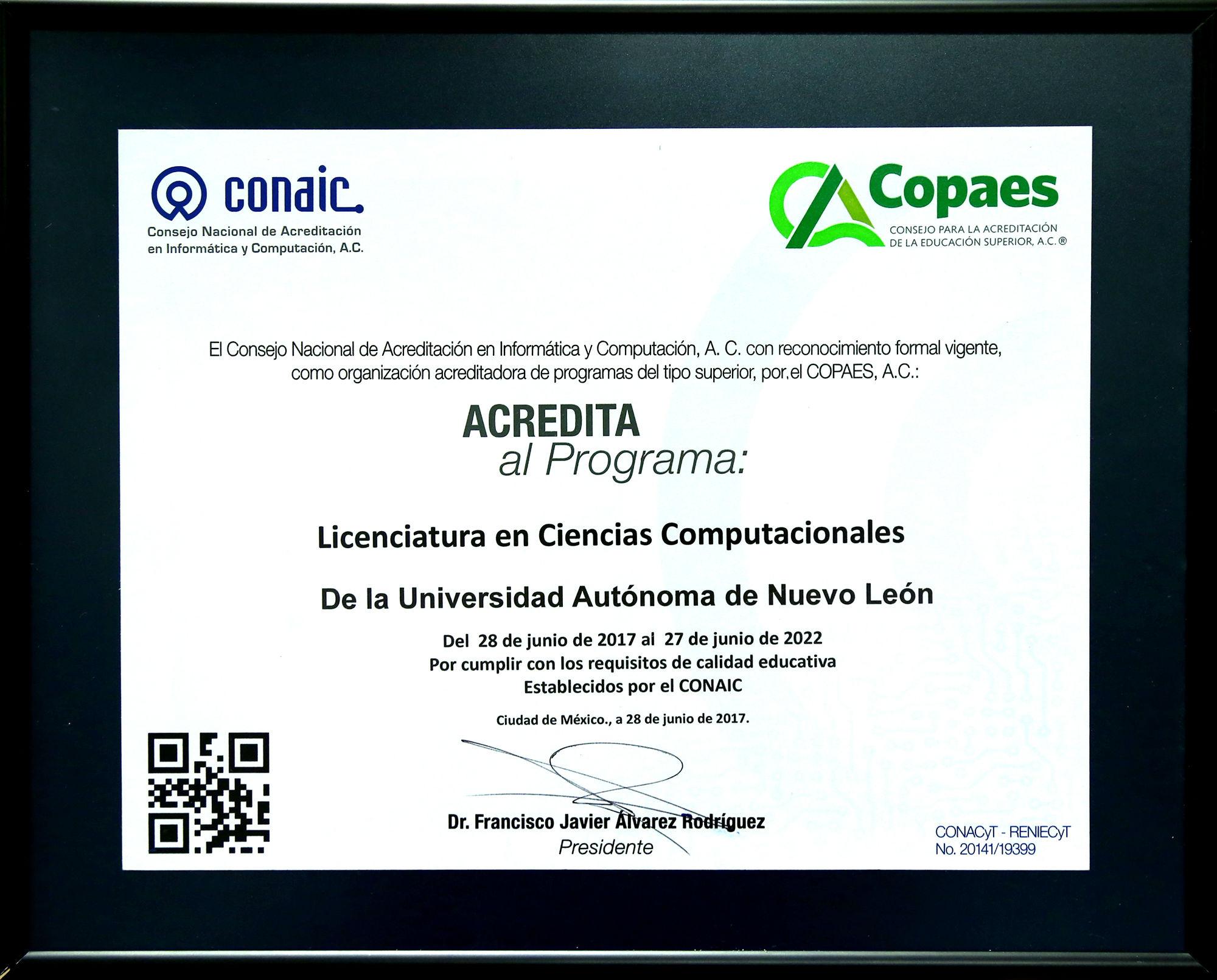 El certificado de acreditación de la licenciatura en ciencias computacionales