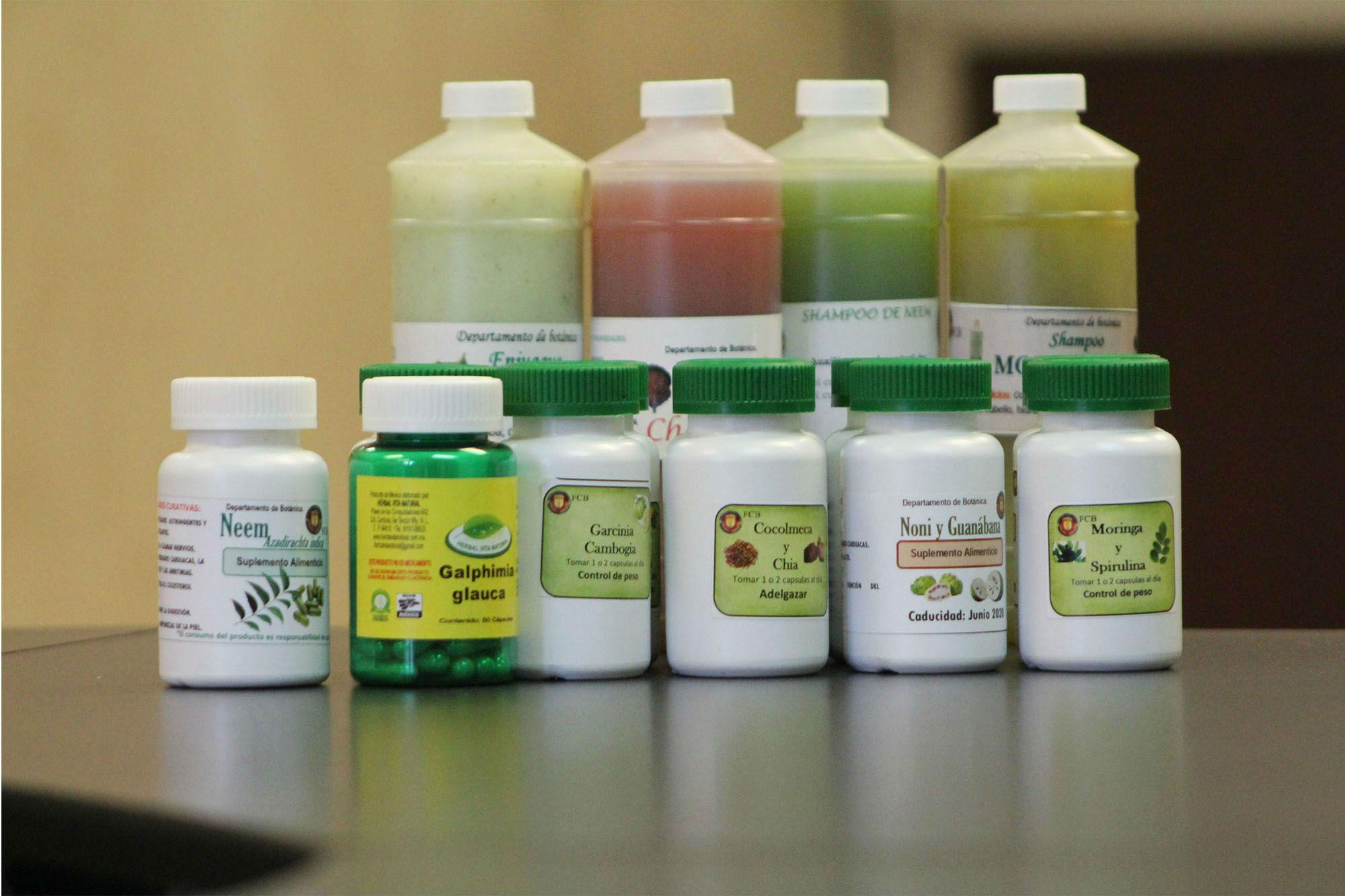 Productos elaborados en el Laboratorio de Botánica de la FCB