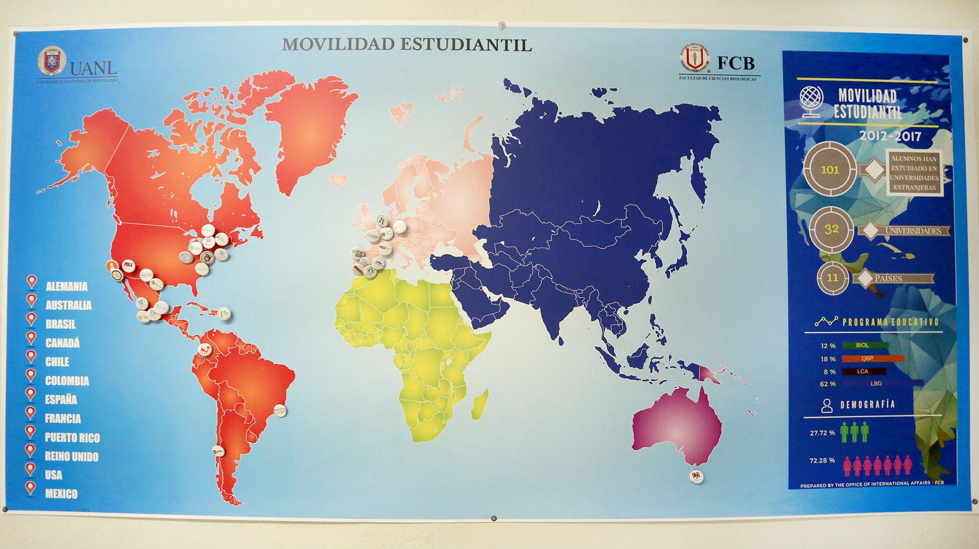 Mapa mundial que marca las instituciones a las que estudiantes de la FCB han ido a realizar estancias académicas