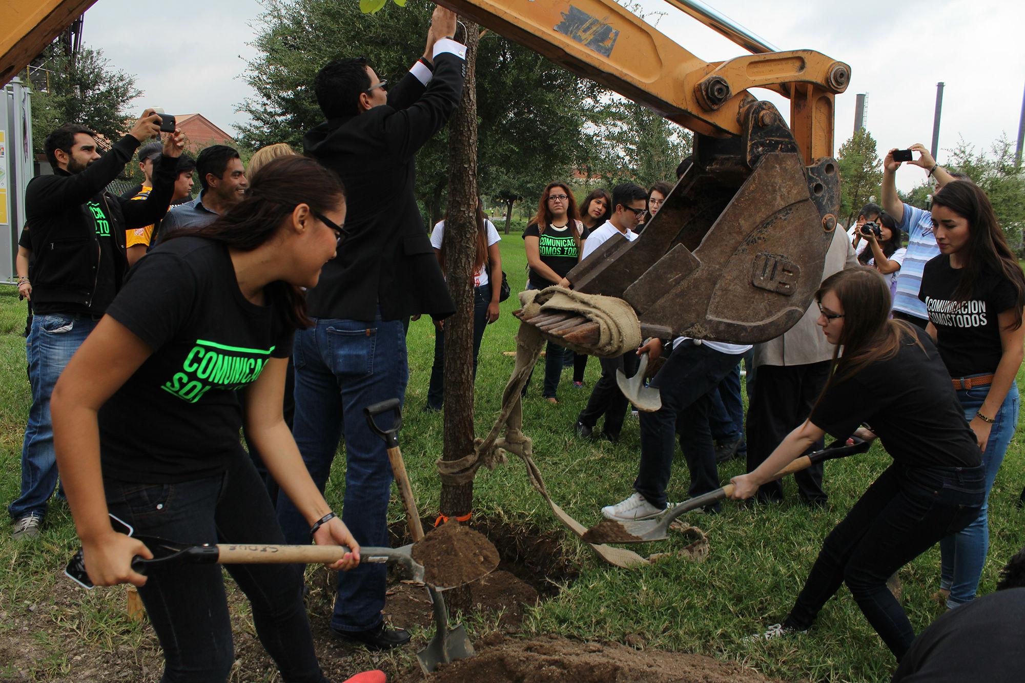Estudiantes de la Facultad de Ciencias de la Comunicación ayudaron a instalar el árbol representativo