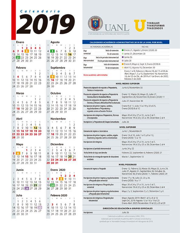 Calendario Universitario.Calendario Academico Universidad Autonoma De Nuevo Leon