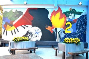 Dejan huella con mural alumnos de la Prepa 2